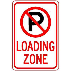 "12""x18"" LOADING ZONE Reflective white Sign - AdVision Signs"
