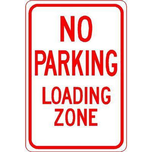"12""x18"" NO PARKING LOADING ZONE Reflective White Sign - AdVision Signs"
