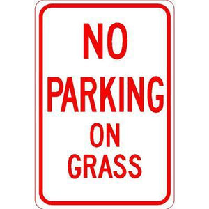 "12""x18"" NO PARKING ON GRASS Reflective white Sign - AdVision Signs"
