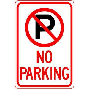 "12""x18"" NO PARKING (PIC) Reflective white Sign - AdVision Signs"