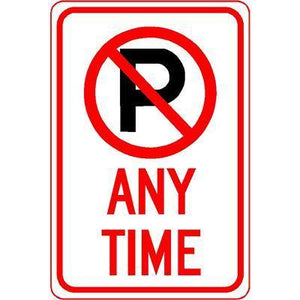 "12""x18"" NO PARKING ANY TIME Reflective white sign - AdVision Signs"