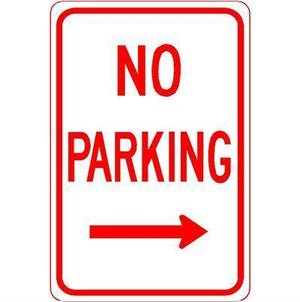 "12""x18"" NO PARKING RIGHT ARROW Reflective White Sign - AdVision Signs"
