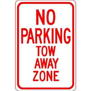"12""x18"" NO PARKING TOW AWAY ZONE Reflective White Sign"