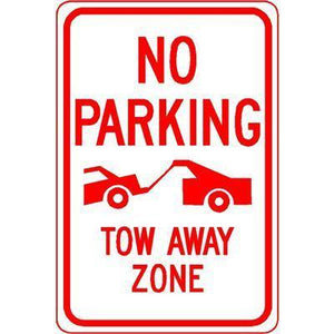 "12""x18"" NO PARKING TOW AWAY ZONE ( car PIC) Reflective White Sign"