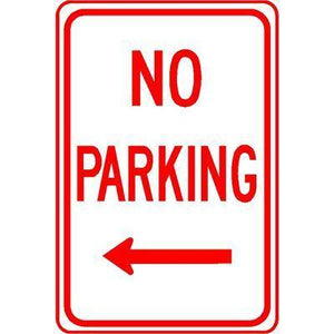 "12""x18"" NO PARKING LEFT ARROW Reflective White Sign - AdVision Signs"