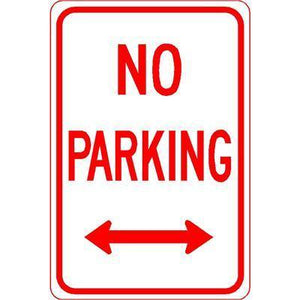 "12""x18"" NO PARKING L/R ARROW Reflective White Sign - AdVision Signs"