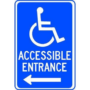 ACCESSIBLE ENTRANCE LEFT ARROW (Accessible Symbol) Sign