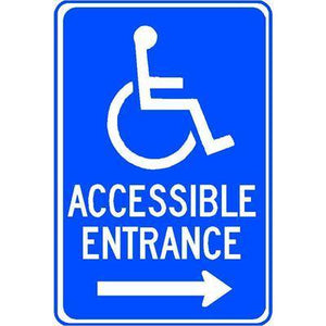 "ACCESSIBLE ENTRANCE 12""x18"" with wheelchair RIGHT ARROW Reflective Sign"