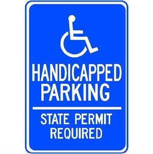 HANDICAPPED PARKING STATE PERMIT REQUIRED SIGN