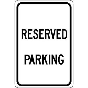 "12""x18"" RESERVED PARKING Reflective White Sign"