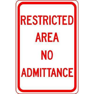"12""x18"" RESTRICTED AREA NO ADMITTANCE Reflective White Sign - AdVision Signs"