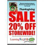"""Thanksgiving Sale 20% Off Storewide"" Signs for Learning Express"