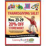 """Thanksgiving Sale! 2015"" Signs for Learning Express"
