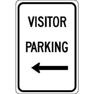 "12""x18"" VISITOR PARKING LEFT ARROW Reflective White Sign"