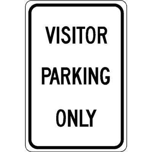 "12""x18"" VISITOR PARKING ONLY Reflective White Sign"