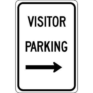 "12""x18"" VISITOR PARKING RIGHT ARROW Reflective White Sign"