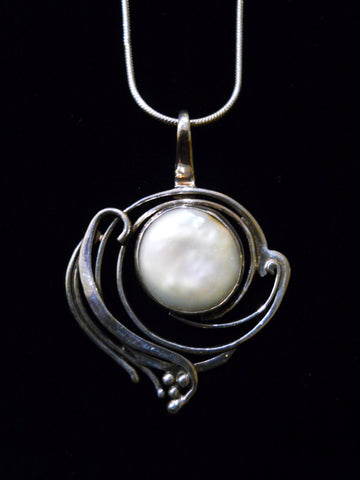 Freshwater Coin Pearl Pendant SOLD