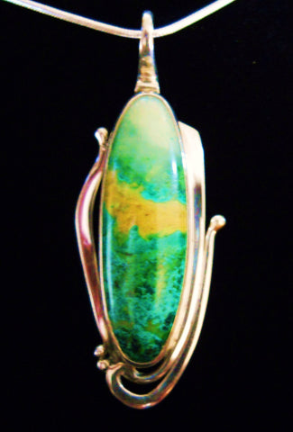 Parrot Wing Chrysocolla Pendant- SOLD