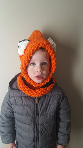 Fox knitted head and neck warmer