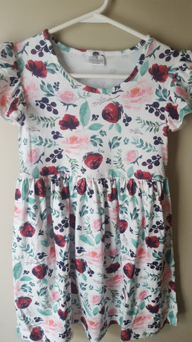 Layla Floral dress with matching bow