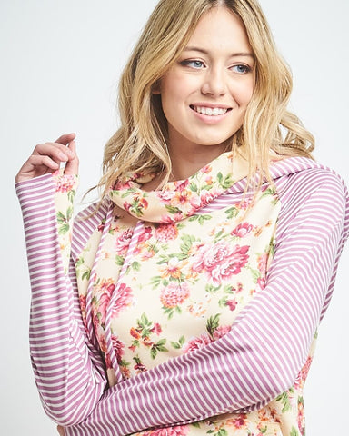 Mommy Floral french terry - Striped sleeves/hood