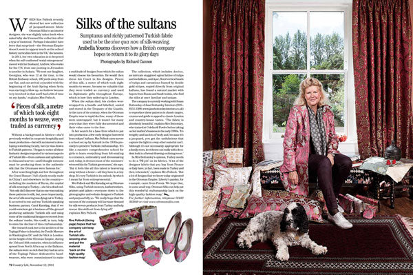 Country Life features Ottoman Silks 12th September 2014 issue