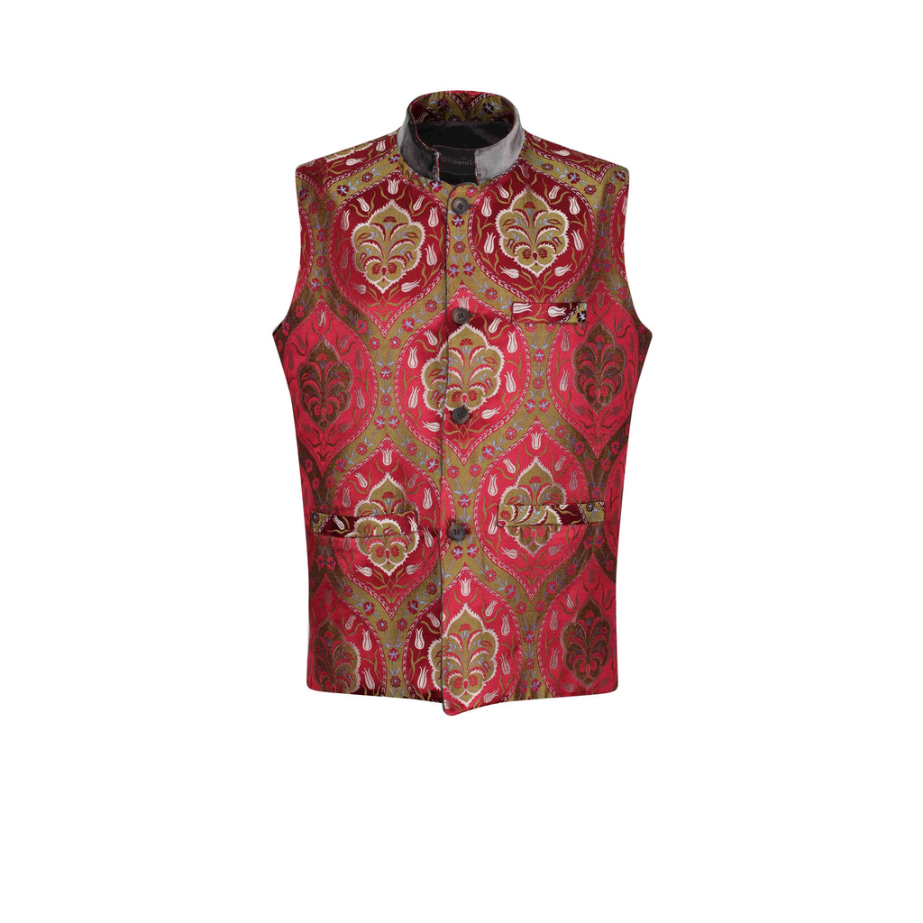 ottoman silks mens formal silk and velvet gilet in saliha fabric
