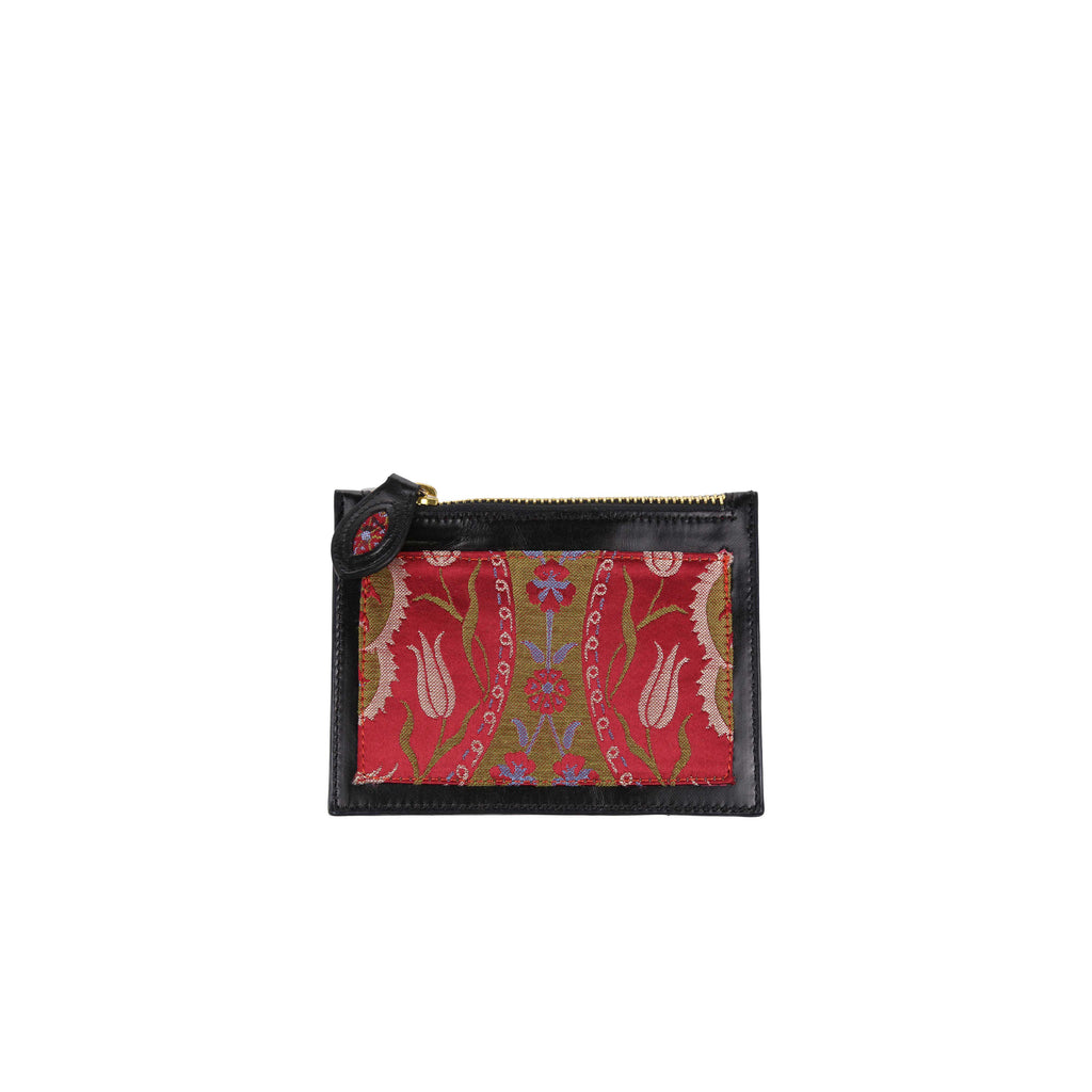 ottoman silks small leather and silk purse in saliha fabric