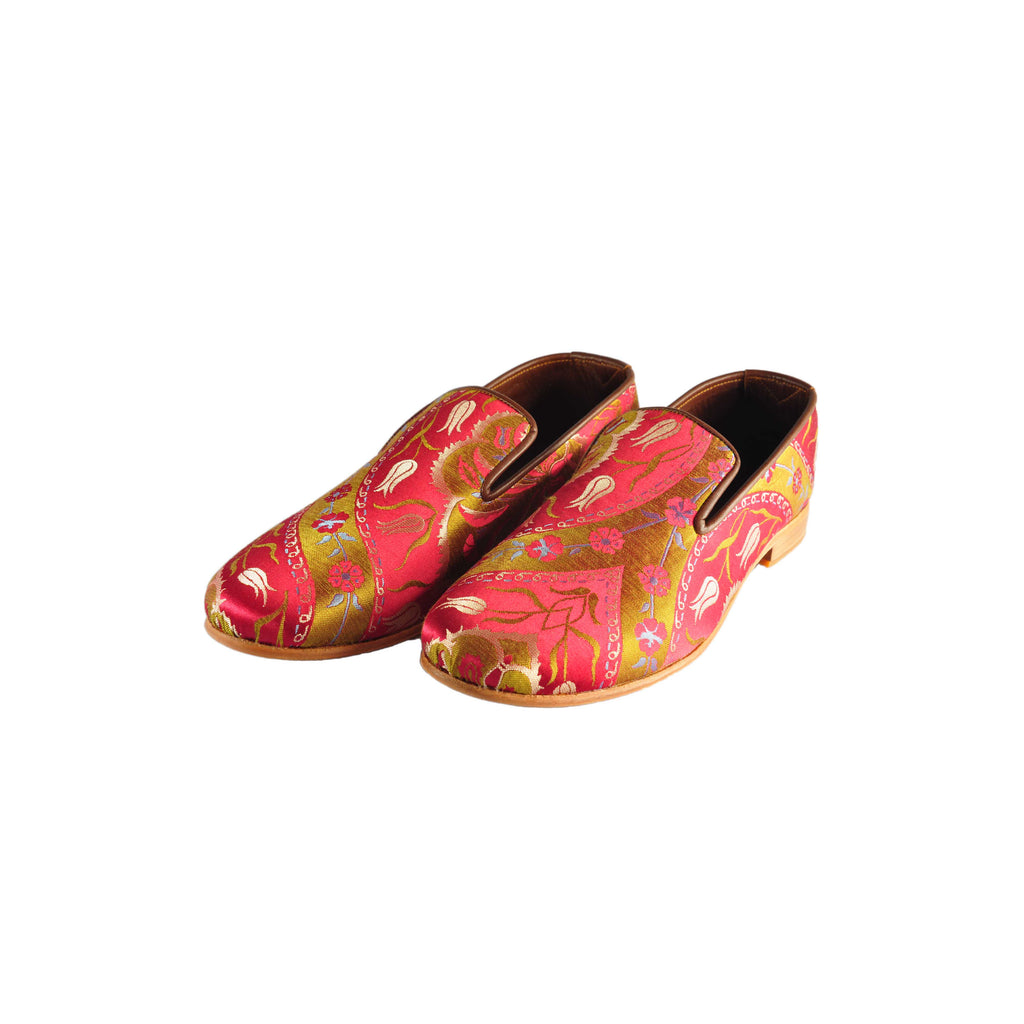 ottoman silks mens leather and silk slippers in saliha fabric