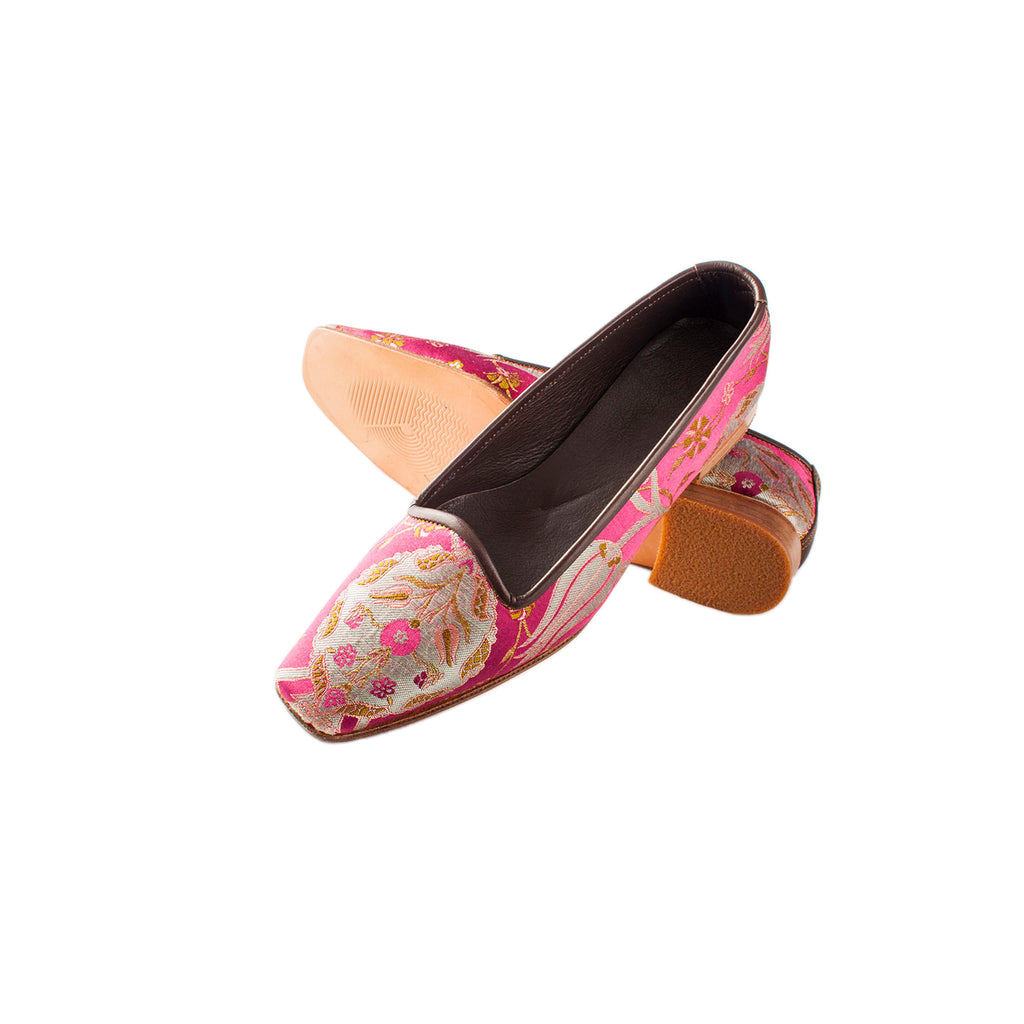 ottoman silks ladies leather and silk slippers in amina fabric