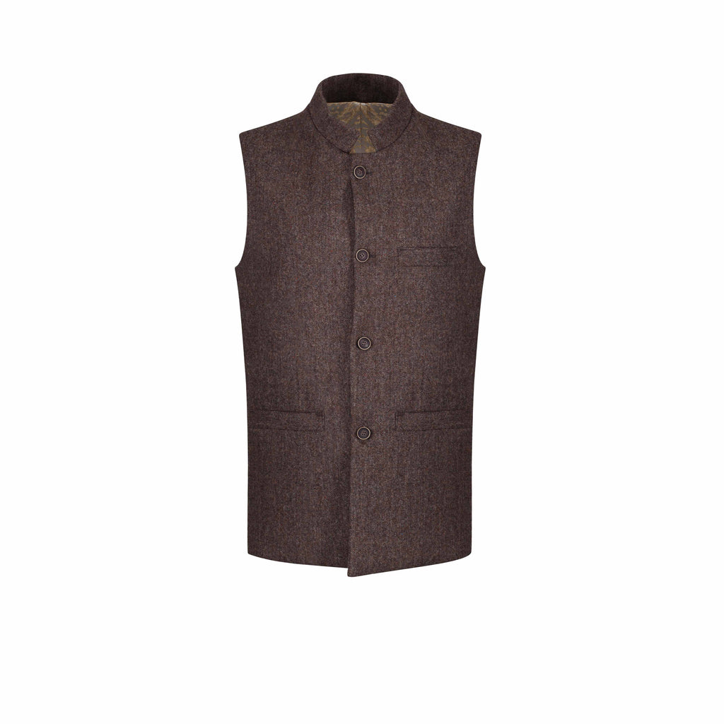 ottoman silks mens wool tweed gilet with silk lining in Nilufer fabric