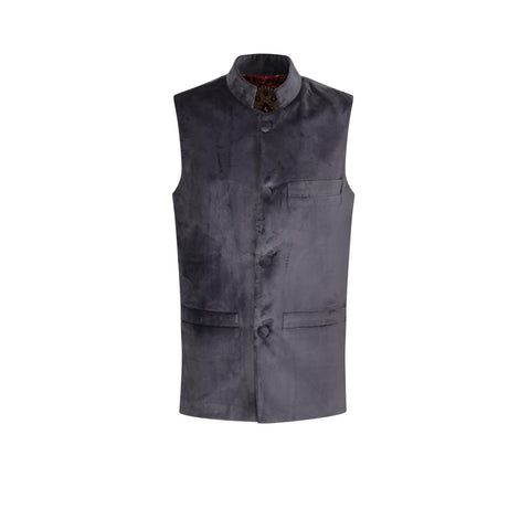 ottoman silks mens velvet gilet with silk lining in amina fabric