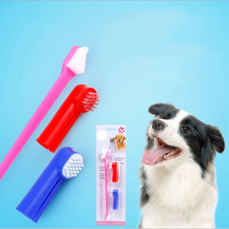 3Pcs Pet Finger Toothbrush Double Head