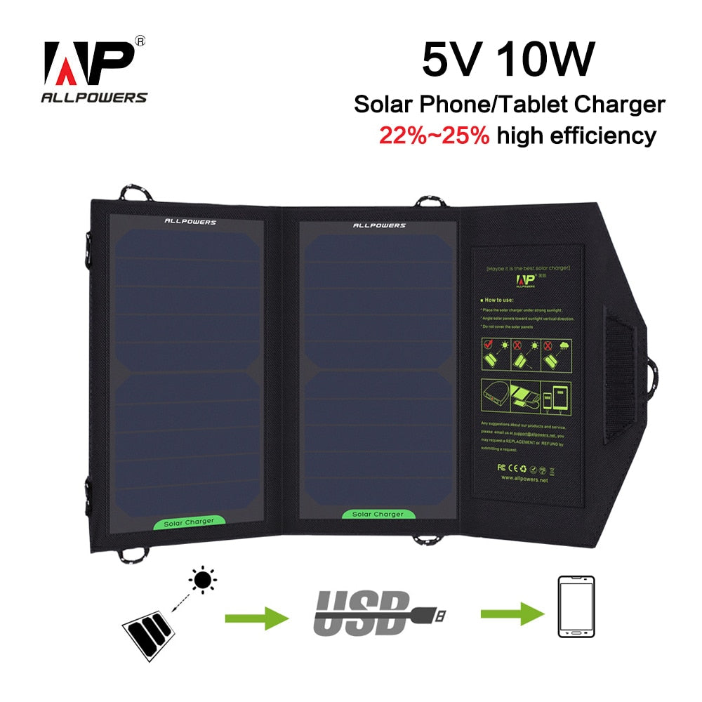 ALLPOWERS Solar Charger Power bank 10W 5V 1.6A USB Solar Panel Foldable Waterproof