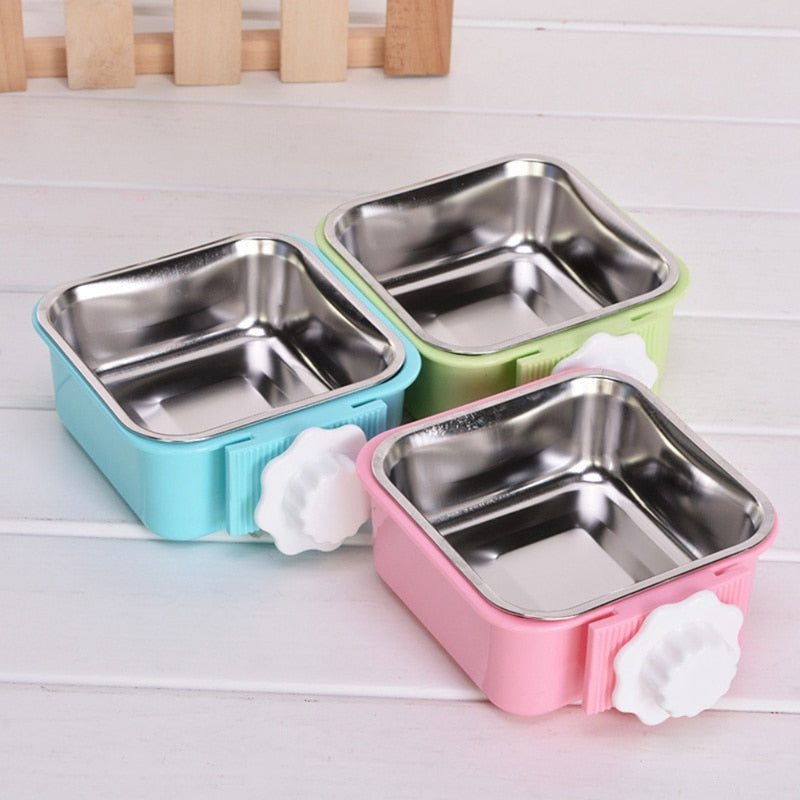Pet Hanging Feeding Bowl Fixed Stainless Steel Removable Easy Cleaning