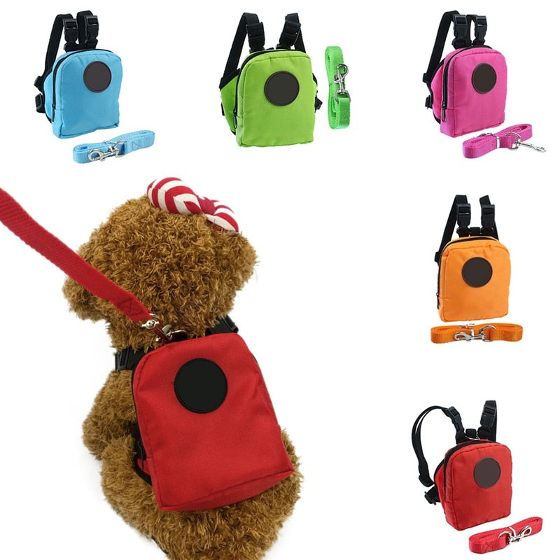 Cotton Pet Backpack/Harness Bag With Leash Traction Rope
