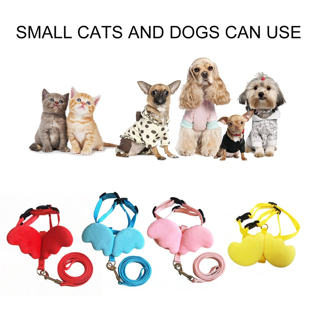 Leash Collar Set for Small Pet  Adjustable Harness with Angel Wings Nylon