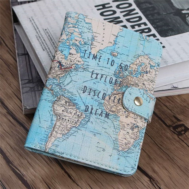 Map Passport Covers Leather