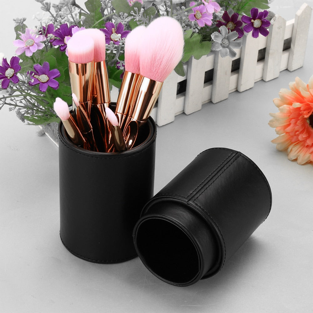Tube makeup Brushes kit leather