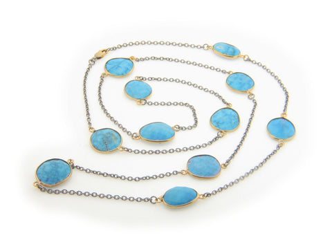 Natural Turquoise Station Necklace (Oxidized) - Lunar Manic