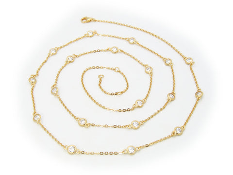 Golden CZ by the Yard Necklace, 24