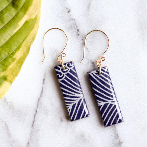 Navy Wave Earrings