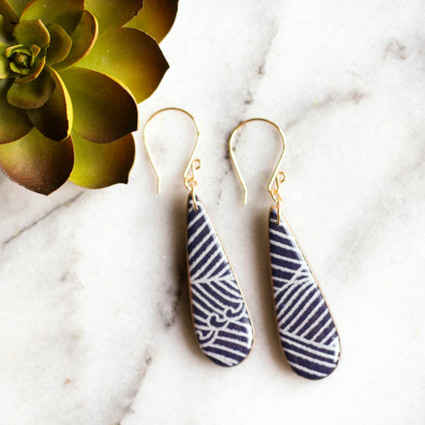 Teardrop Navy Wave Earrings