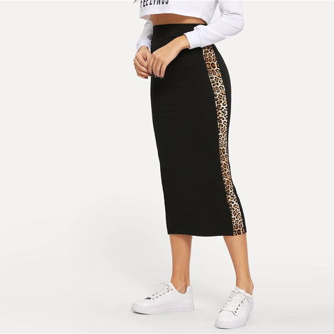 Courtney Leopard Bodycon Midi Skirt