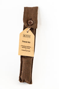 Bamboo Straw Travel Kit : Contains a Straw Pouch, 2 Bamboo Drinking Straws and 1 Straw Cleaning Brush + a Custom Engraved Bamboo Straws.  This is a great Wedding Gift or Anniversery Gift.