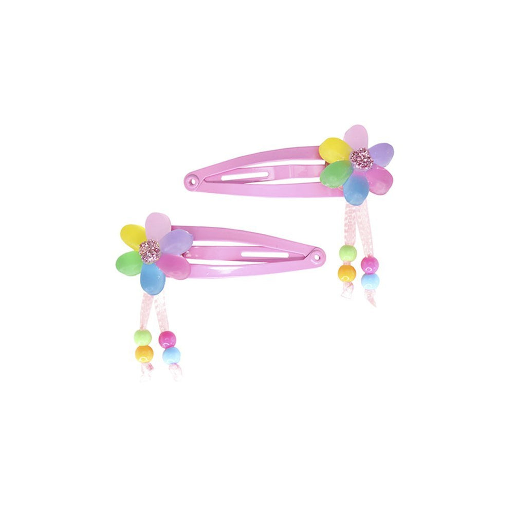 FLOWER OVER A RAINBOW HAIRCLIPS 2PC