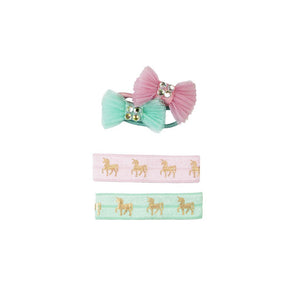 PINK UNICORN HAIR TIES & BOWS, SET OF 4