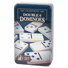 TRADITIONS DOUBLE 6 COLOR DOT DOMINOES IN TIN