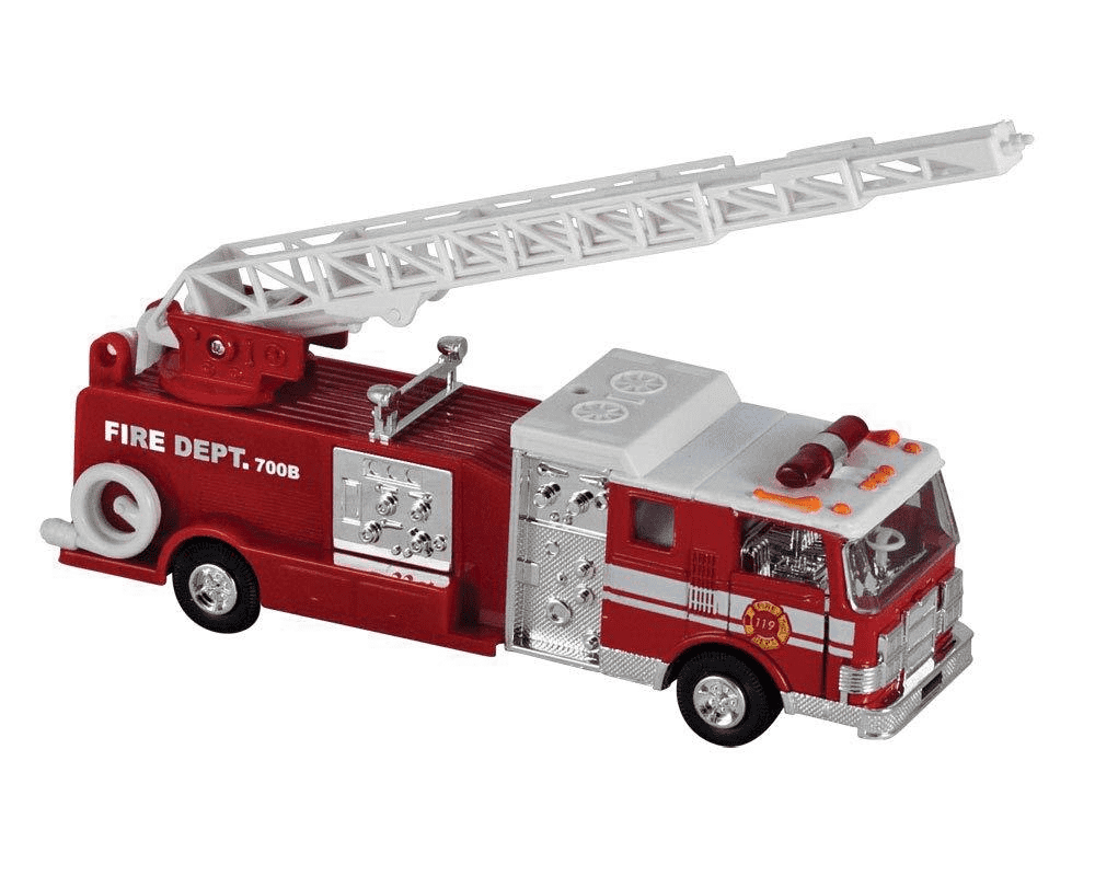 Die-Cast Metal Pull-Back Action & Sound Fire Engine Truck with Ladder