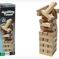 48-PIECE WOOD JUMBLING TOWER IN TIN